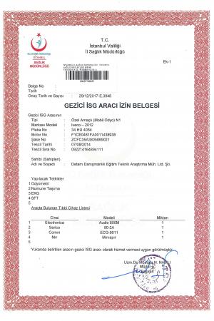 Gezici İSG Aracı İzin Belgesi (34 HU 4054)