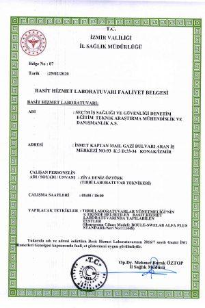 İzmir Laboratuvar Yetki Belgeleri 2020-1